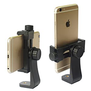 "iPhone Tripod Mount Adapter Universal Cell Phone Tripod Mount, Vertical Horizontal Adjustable Clamp 2.3~4.0"" Wide"