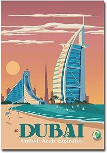 "Dubai Banff Canada Travel Vintage Art Refrigerator Magnet Size 2.5"" x 3.5"""