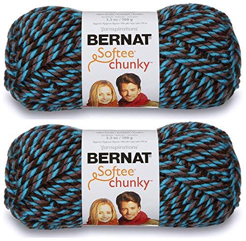 2-Pack - Bernat Softee Chunky Yarn, Teal Twists, Single Ball ()