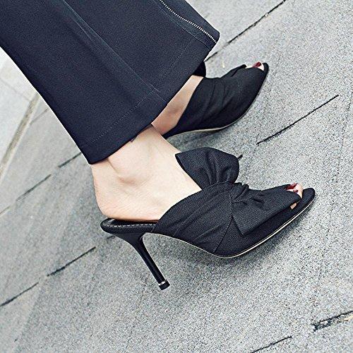 GJDE del Verano las Sandalias de y los Talones arco Zapatillas de lino Mujer Tacón Stiletto Plataforma Vestido Fiesta y Noche Black
