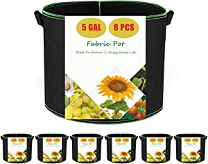 Fabric Pots 5 Gallon Grow Bags for Vegetables, 6-Pack Planting Bag Thickened Aeration Cloth Pot, Firm Durable Handles