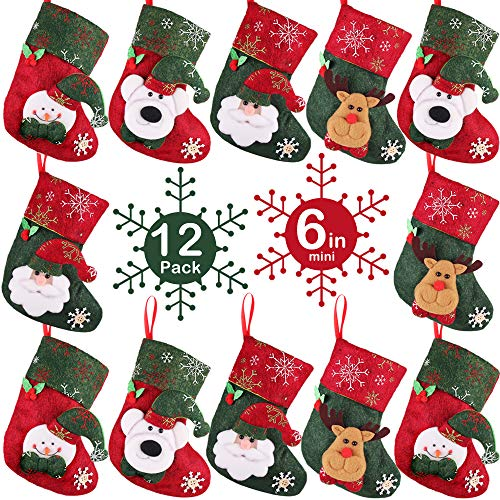(PartyBus 6 Inch Mini Christmas Stockings 12 Pack, 3D Santa Snowman Reindeer Polar Bear Xmas Tree Decorations, Gift Card Holders Cash Bags Holiday Treats for Family Coworkers Neighbors Kids Dogs Cats)