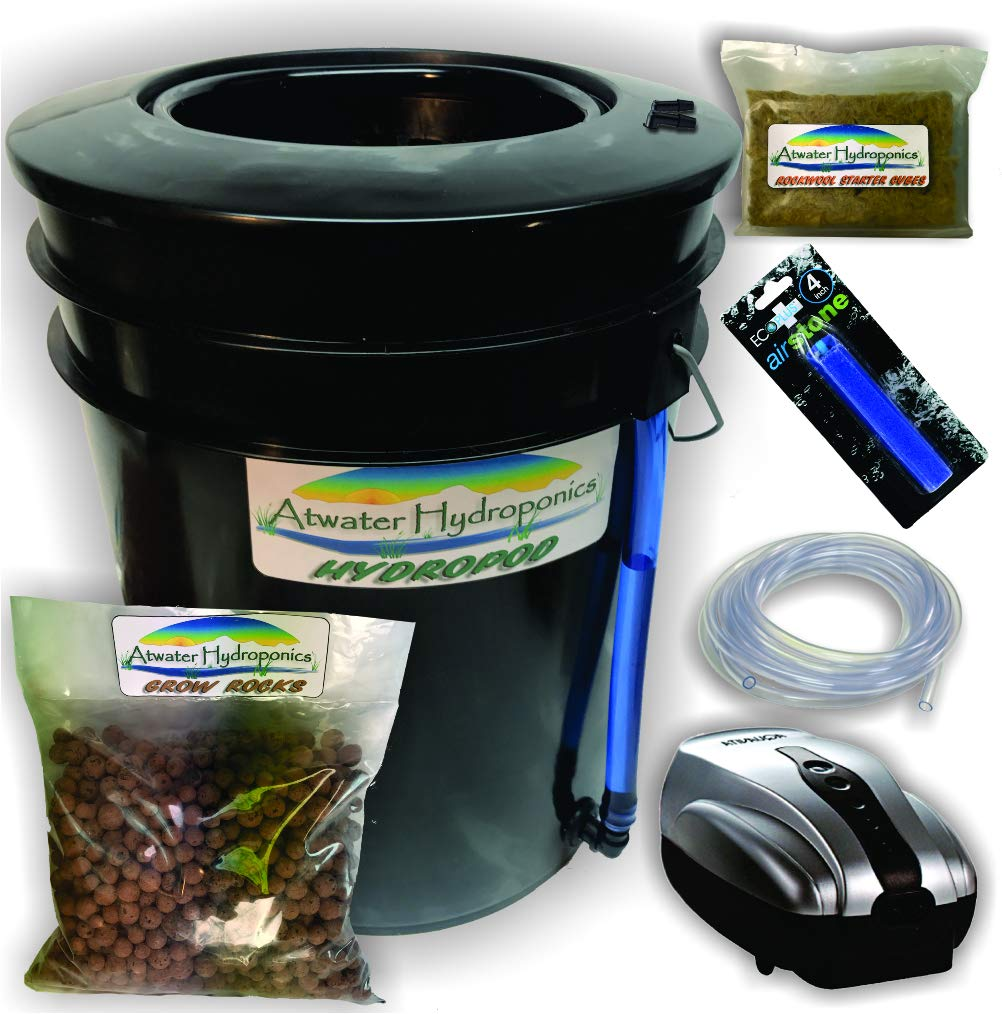 The Atwater HydroPod - Standard A/C Powered DWC Deep Water Culture/Recirculating Drip Hydroponic Garden System Kit - Bubble Bucket - Bubbleponics - Grow Your Own! Start Today! by Atwater Hydroponics