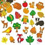 Baker Ross Lot de 100 Autocollants en Mousse Amis de la Forêt - Idéal pour la décoration de cartes de l'automne