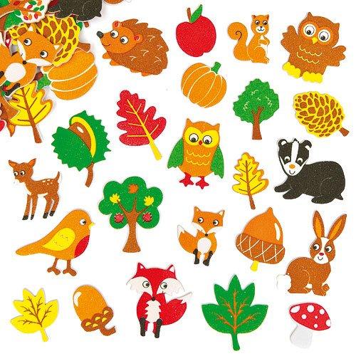 Baker Ross Pegatinas de espuma de amigos del bosque que los niños pueden usar para decorar tarjetas y manualidades (pack de 100).