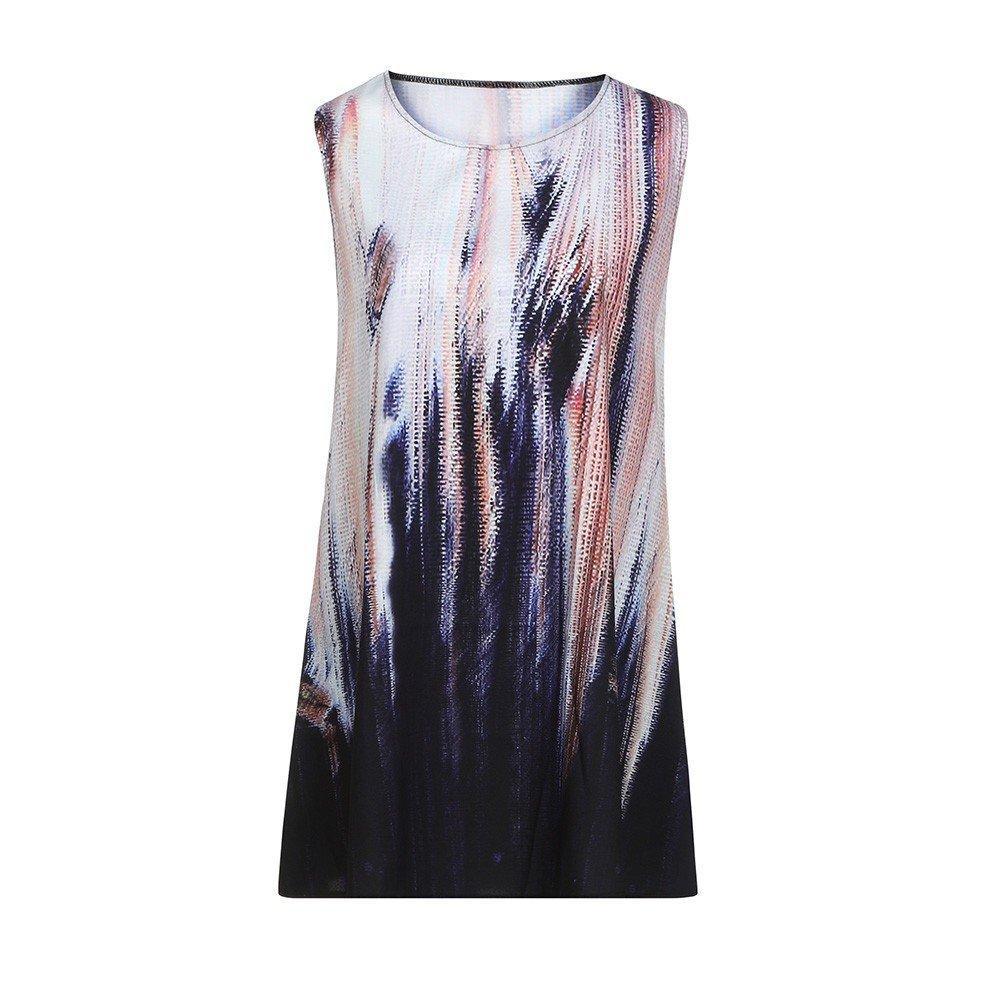 NRUTUP Dresses for WomenVintage Boho Loose Summer Sleeveless 3D Floral Print Bohe Tank Mini Dress