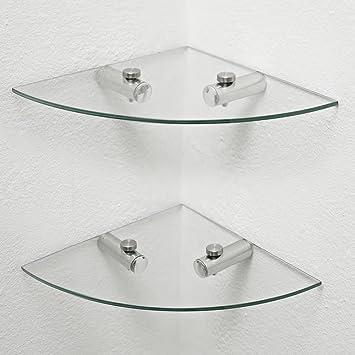 2 x Glass Corner Shelves, Bathroom Shelves, Kitchen Shelves, Storage ...