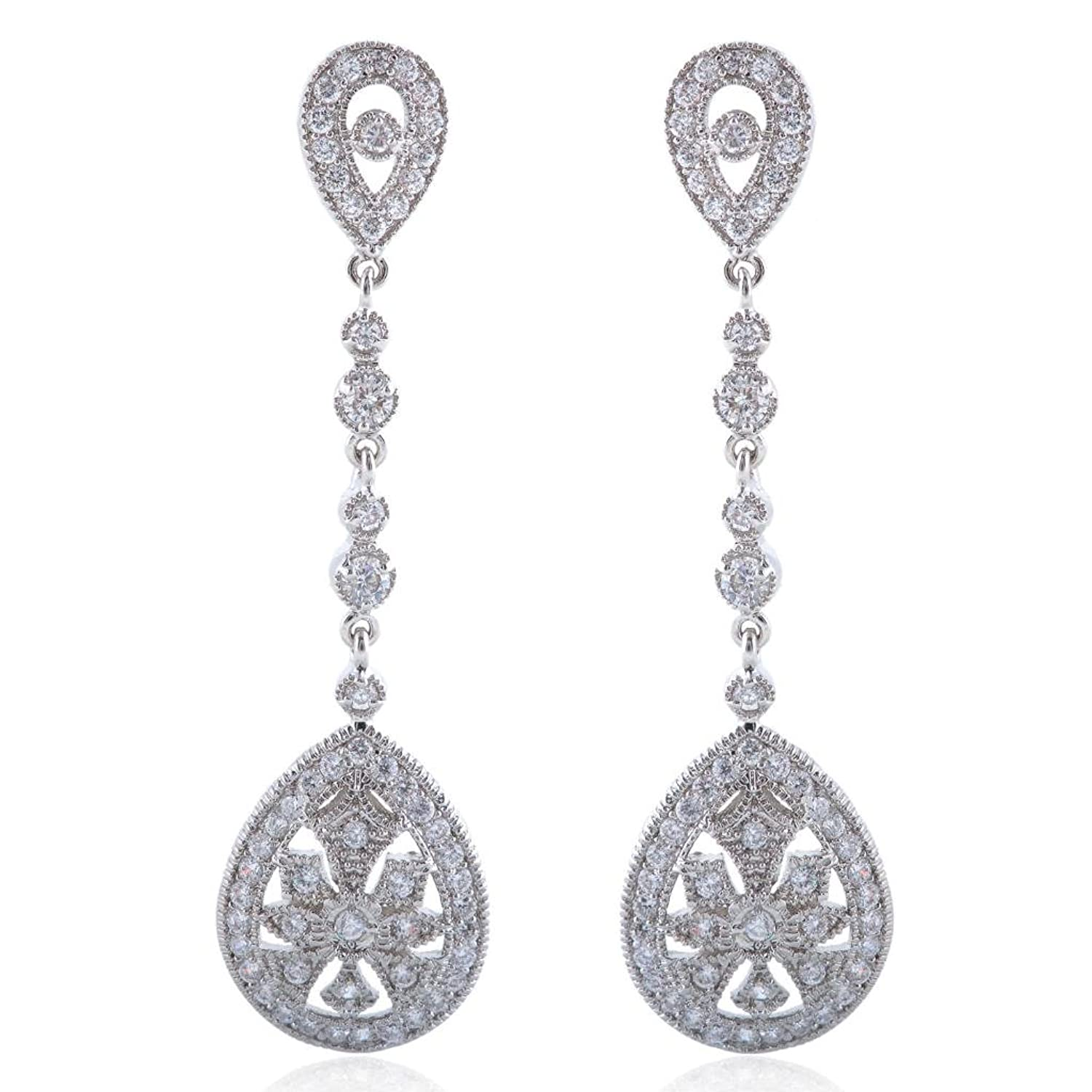 EVER FAITH Art Deco Classical Gatsby Inspired Pave CZ Chandelier – Cz Chandelier Earrings
