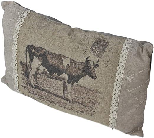 Cojín Vaca Impresión Beige relleno cojín decoración almohada pradera Decoración ternero vacuno, algodón, beige, 30 x 45 cm: Amazon.es: Hogar