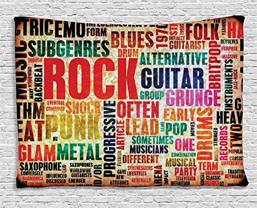 Ambesonne Music Tapestry, Retro Rock Roll Lettering Grunge Distressed Colors Back Then Sound Music Theme, Wide Wall Hanging for Bedroom Living Room Dorm, 60