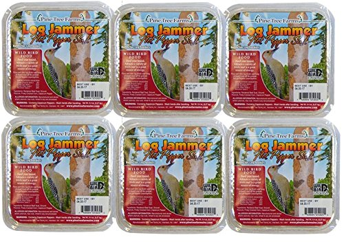 6 Packs of Pine Tree Farms Log Jammer Hot Pepper Suet- 3 Plu
