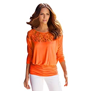 Gillberry Women Long Sleeve Lace T-Shirt Blouse Casual Loose Tops Shirt Tee (XL, Orange)