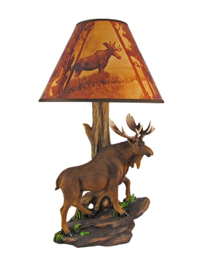 North American Bull Moose Table Lamp W/ Shade   Rustic Lamp Shades    Amazon.com