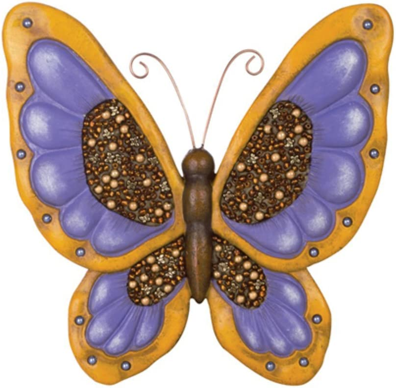 Carson Home Accents Decorative Garden Stone Butterfly with Beadworks, Home Décor Wall Hanging Decorations, Bright and Colorful