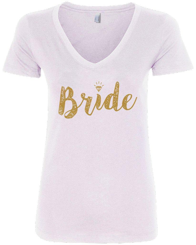 Threadrock Women's Bride Gold Script V-Neck T-Shirt XL White by Threadrock (Image #1)