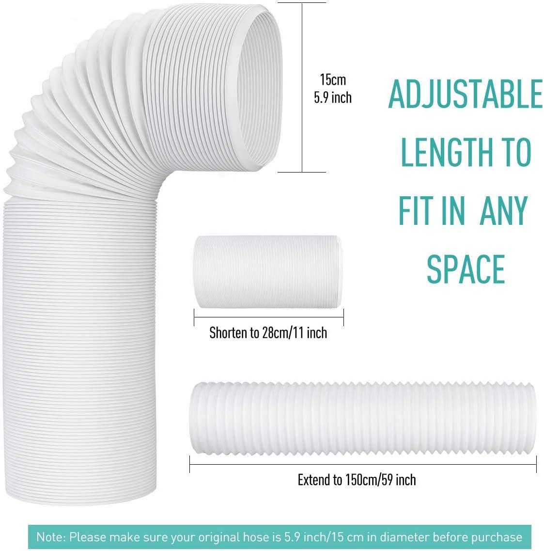 AGPTEK Tubo Flessibile di Scarico per Condizionatore Portatilein PVC con Diametro 15CM,Flessible da 28CM a 150CM,Tubi di Scarico Daria Universale Perfetto per Impianti di Climatizzazione,Asciugatrici