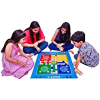 Vamika Giant Jumbo Sized Foldable Ludo Toy Game Foam Mat with Push Button Dice Shaker/Roller Size 32x27-inch (Multicolour)
