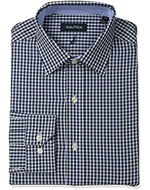 Men's Check Shirt with Spread Collar