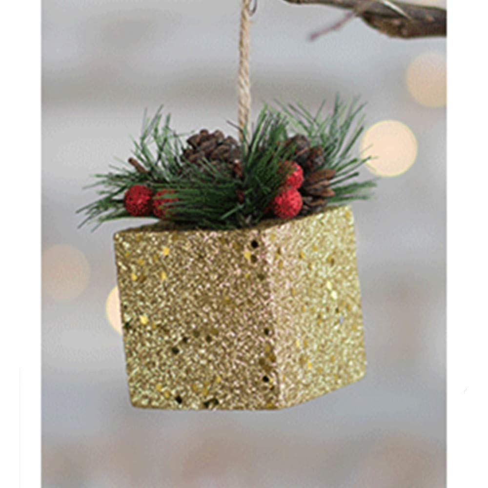 MomeChristmas Scene 1PC Glitter Sequin Christmas Xmas Tree Ball Bauble Hanging Home Party Ornament Decor - Enjoy 21 Different Patterns (E, Gold)