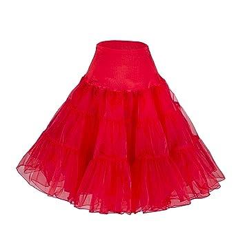 "1f9d1670c8 Tidetell Vintage Women's 50s Rockabilly Tutu Skirt 26"" Length Petticoat  Red ..."