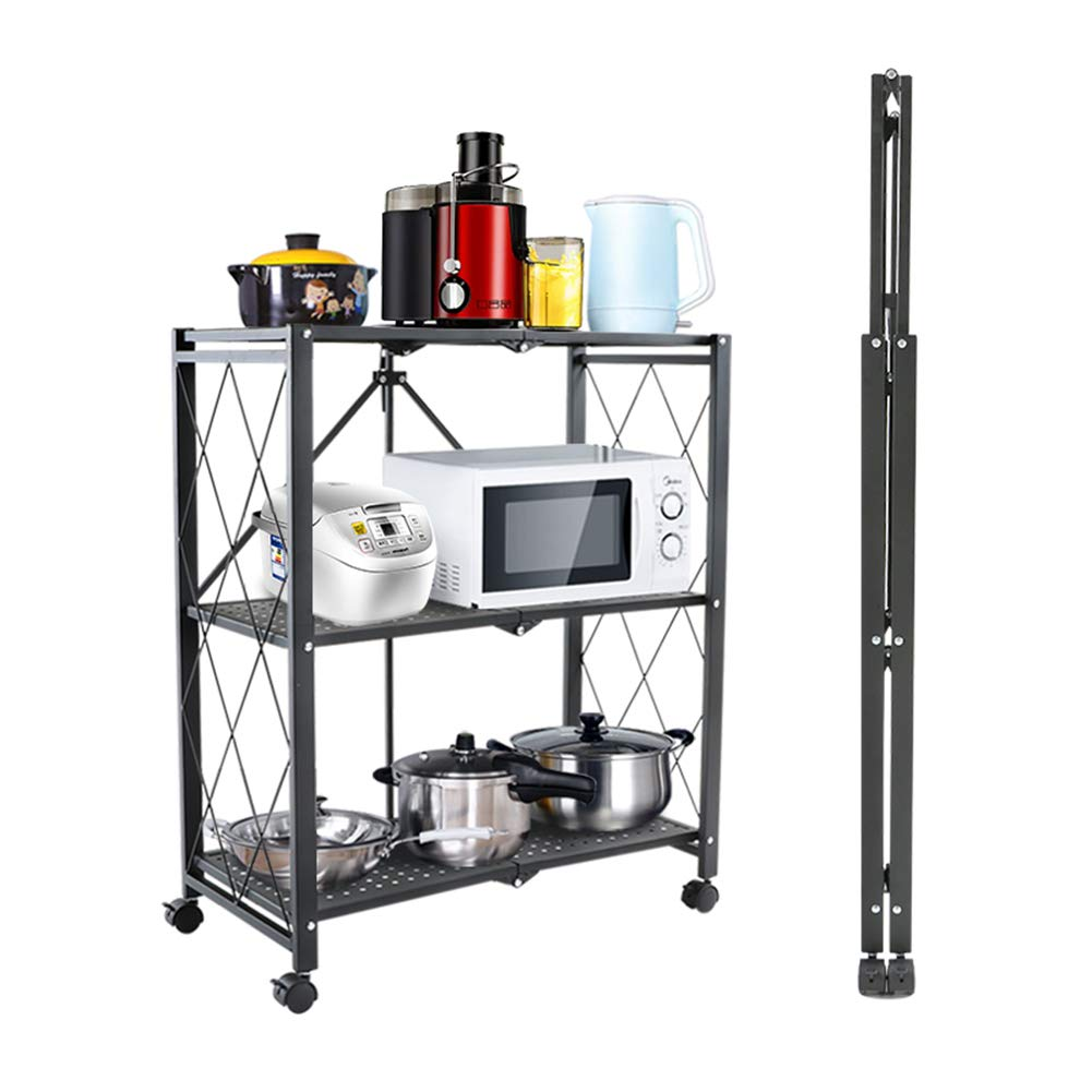 Kitchen Foldable Shelf, 3-Layer Wheeled Trolley Wrought Iron Floor Storage Rack, Suitable for Kitchen Living Room Bathroom Toilet 27.9514.9633.86in by Kitchen shelf
