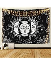Sevenstars Sun and Moon Tapestry Burning Sun with Star Tapestry Psychedelic Tapestry Black and White Mystic Tapestry Wall Hanging
