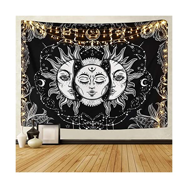 Krelymics-Sun-and-Moon-Tapestry-Burning-Sun-Tapestry-Black-and-White-Mystic-Fractal-Faces-Tapestry-for-Room