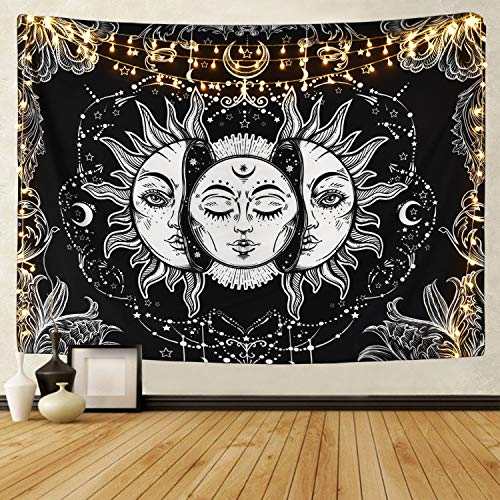 Sevenstars Sun and Moon Tapestry Burning Sun with Star Tapestry