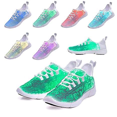035a185a52985 Amazon.com: All White Sneakers for Women Men の Luminous LED Light ...
