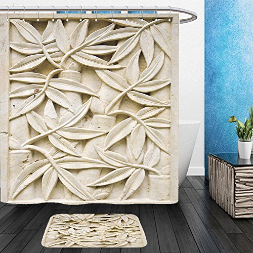 Vanfan Bathroom 2?Suits 1 Shower Curtains & ?1 Floor Mats bali stone carving 61234441 From Bath room (Superman Pumpkin Carving)
