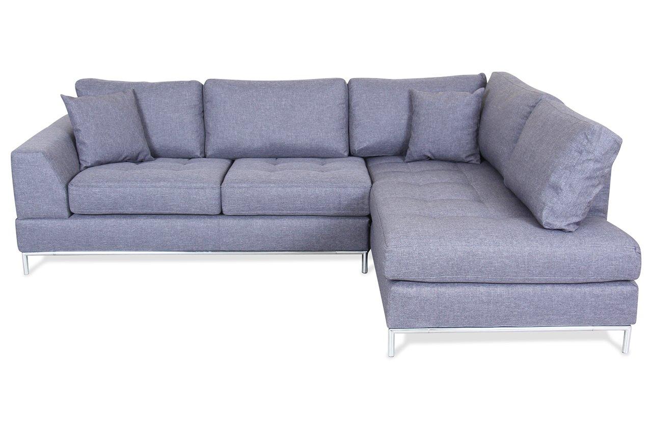 Sofa Spin Möbel Ecksofa XL Garda - Grau - Webstoff Grau