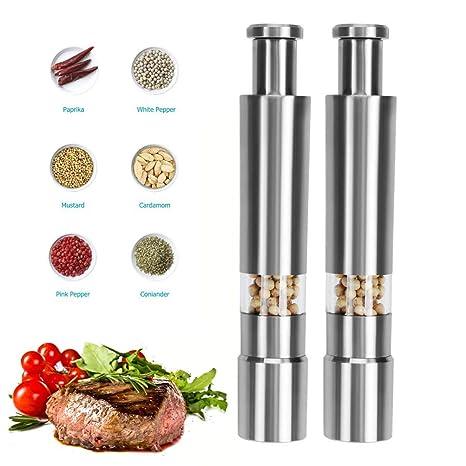 Kier Pepper Grinder Manual de Acero Inoxidable Molinillo de Sal Portátil Mini Durable Operación de una Mano Salt Mill AdecuadoTurismo 2 Pack Plata: Amazon.es: Hogar