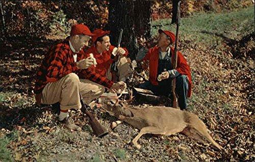greetings-3-hunters-with-deer-wood-lake-minnesota-original-vintage-postcard