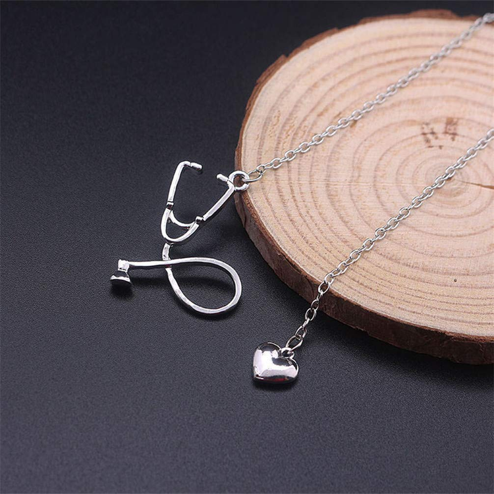 Toporchid Medical Stethoscope Love Heart Pendant Doctor Nurse Necklace(Gold)