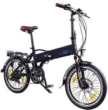 NCM Madrid 20 pulgadas bicicleta eléctrica S de bicicleta plegable E-Bike aluminio 36 V 250 W batería de ion de litio Marco batería con 9 Ah, Negro Mate: Amazon.es: Deportes y aire libre