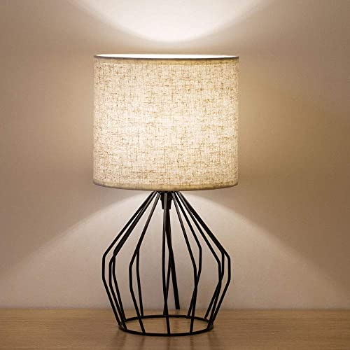 HAITRAL Bedroom Table Lamp – Minimalist Bedside Desk Lamp with Black Metal Hollowed Out Base and Linen Fabric Shade, Nightstand Lamps for Bedroom, Living Room, College Dorm, Kids Room HT-TH57-02