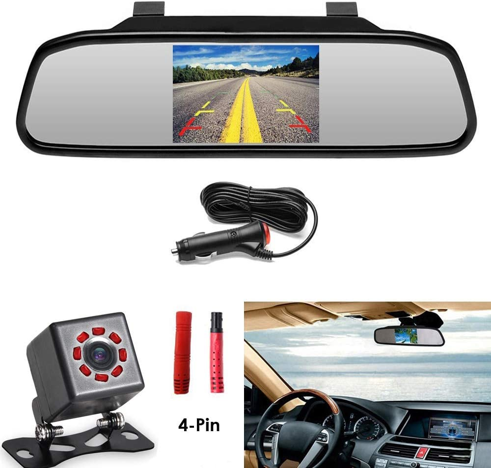 Podofo Backup Camera System for Car Quick Installation 4.3 TFT Color LCD Rear Monitor 8 LED Night Vision Waterproof Rearview Reverse Camera Parking Assistance