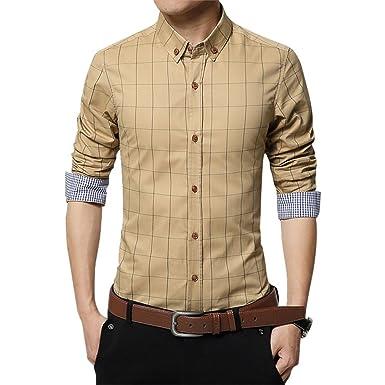 SKNSM Estilo de dama Camisa de manga larga de color caqui para hombre Camisa de cuadros delgada para camisetas y blusas para mujer: Amazon.es: Ropa y ...