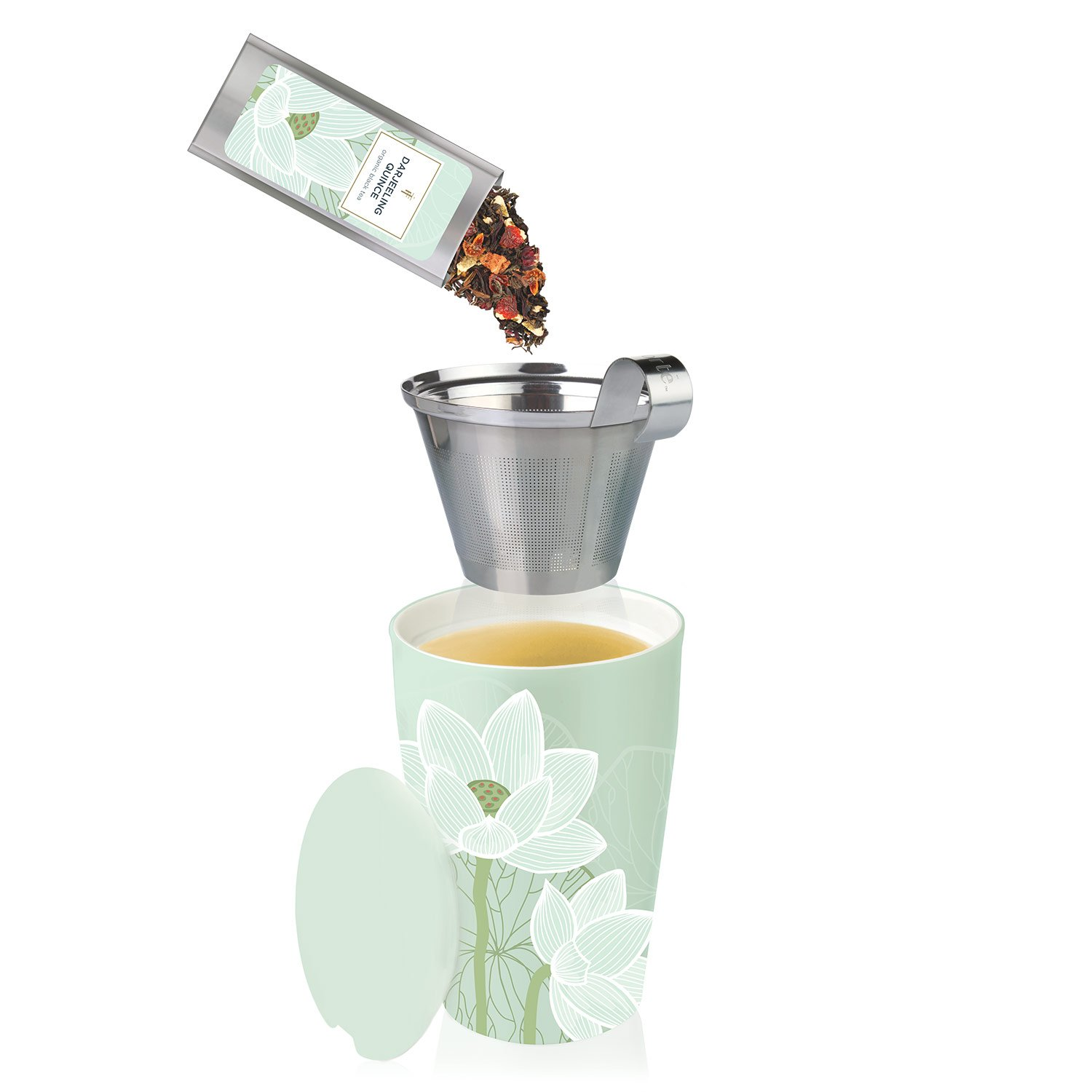 Tea Forté KATI Cup Ceramic Tea Brewing Cup with Infuser Basket and Lid for Steeping, Loose Leaf Tea Maker, Lotus