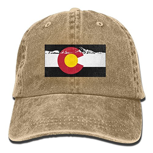 Baseball Cap Rocky Mountains Colorado Flag - Adjustable Trucker Hat Cotton Denim, DanLive Rocky Mountains Colorado Flag