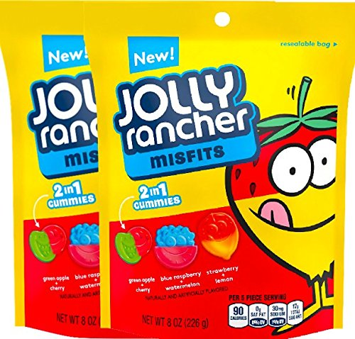 NEW Jolly Rancher Misfits 2 in 1 Gummies, 8 Ounces (2) ()
