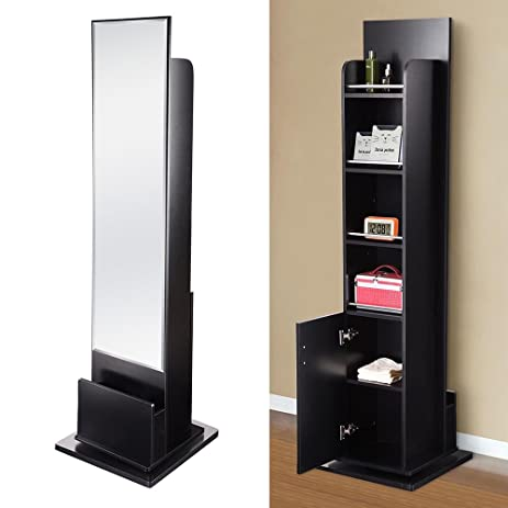 Yescom 71u0026quot; Swivel Cabinet With Mirror Shelves Drawer 360 Degree  Rotation Free Standing Storage Organizer