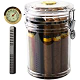 XIFEI Acrylic Humidor Jar with Humidifier and Hygrometerhumidor That can Hold About 18 Cigars (Clear)