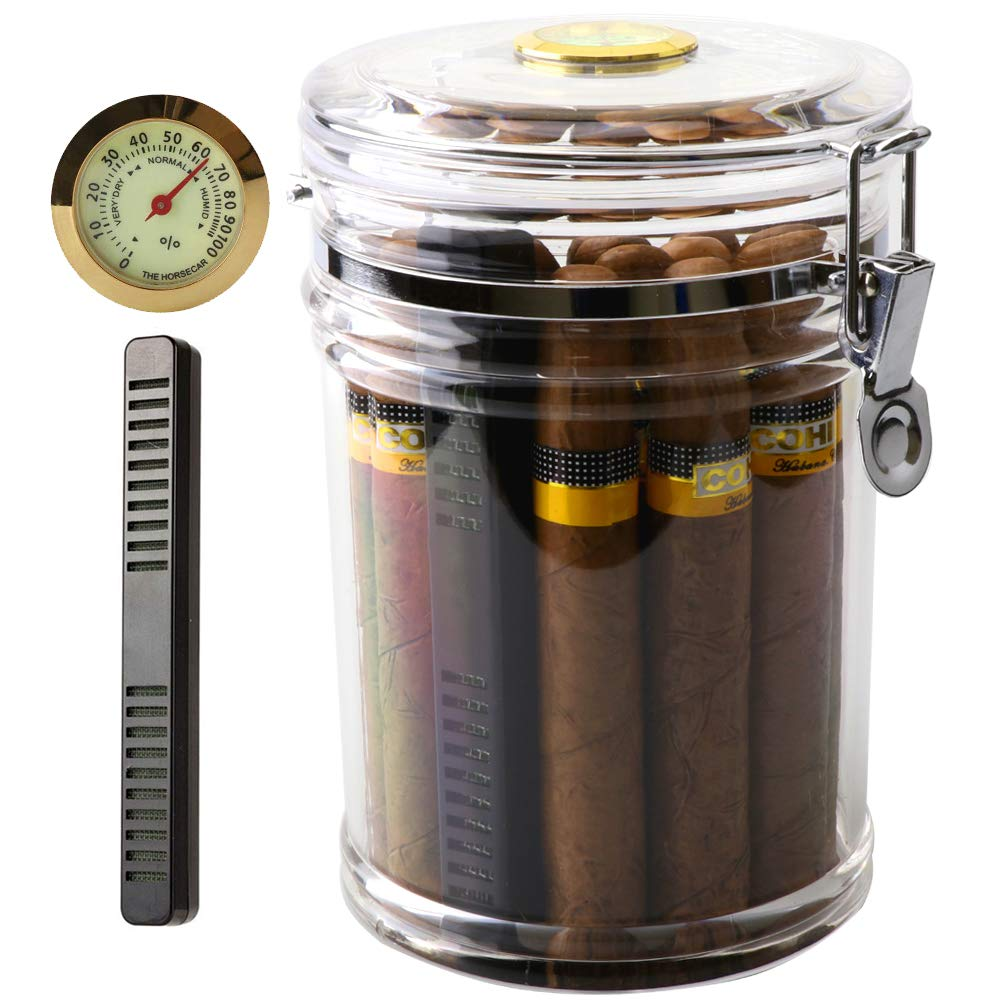 XIFEI Acrylic Humidor Jar with Humidifier and Hygrometer,humidor That can Hold About 18 Cigars (Clear) by XIFEI