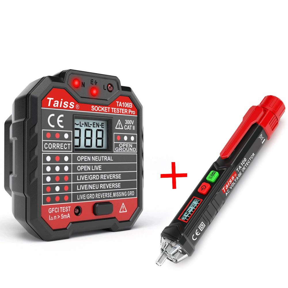Non-Contact Dual Voltage Tester Electric Voltage 12V-1000V Voltage Detector Pen with Alarm Mode /& Live//Null Wire Judgment LED Flashlight Beeper Multi-sensor TA-100