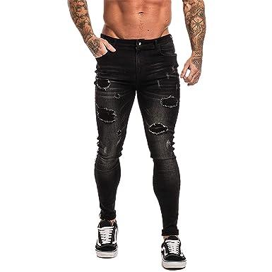 Gomis Jeans Men Hip Hop Super Skinny Men Jeans Stretch Blue