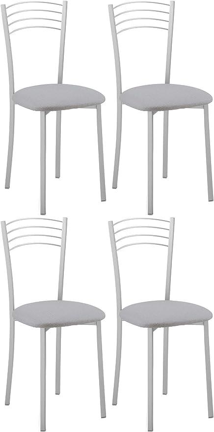 Miroytengo Pack 4 sillas Cocina Comedor Metal y Poliuretano Estilo ...