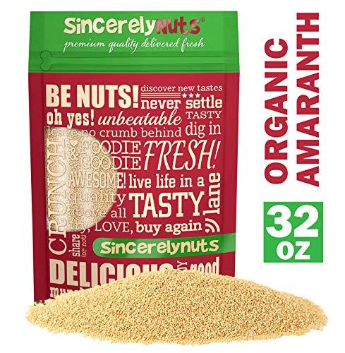 Sincerely Nuts Organic Amaranth- Plant-Powered Protein - Gluten-Free - Fiber - Rich Grain - Vegan & Kosher (2 LB)