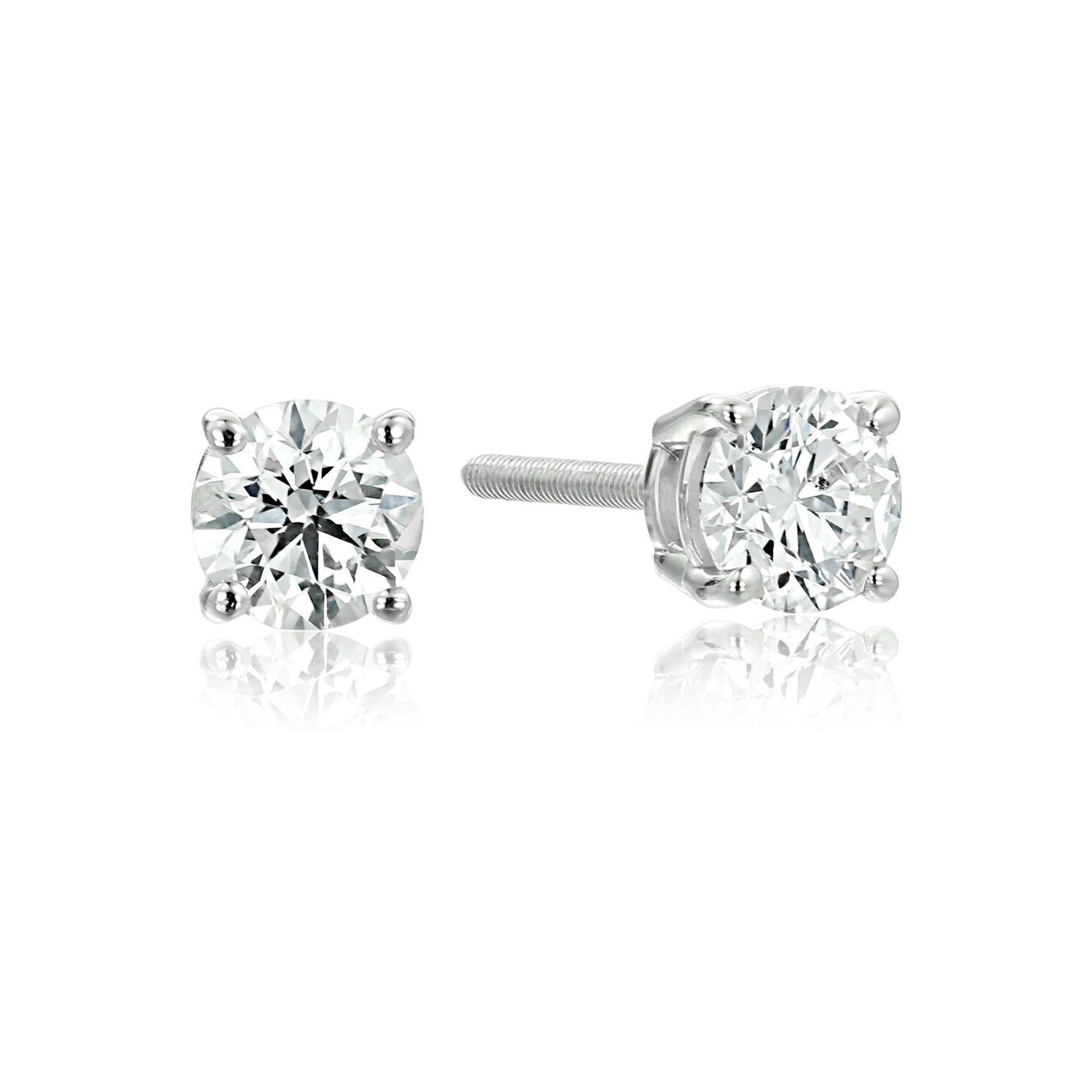 IGI-Certified 14k White Gold Round-Cut Diamond Stud Earrings (1/2 cttw, H-I Color, I1 Clarity)
