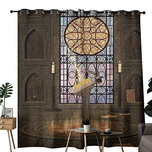 Mannwarehouse Gothic House Decor Bedroom Curtain Lectern on Pentagram Symbol Medieval Architecture Dark Spell Altar Set of Two Panels W72 x L108 Olive Green Mustard